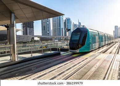 New modern tram in Dubai, United Arab Emirates