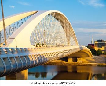 New and modern Troja bridge over Vltava river in Holesovice, Prague, Czech Republic.