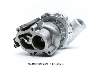 new modern turbocharger isolated on white background. turbo charger to increase car engine power. background of spare part for car engine tuning