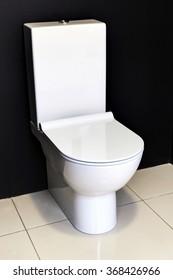 new modern white toilet bowl about a black wall