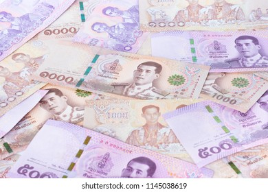 New money banknotes 2018 of thailand  background. One thousand baht bill with five hundred baht bill.
