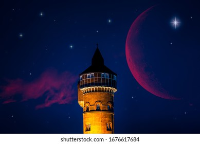 New moon , moon in the blue sky new moon in the clouds  - Shutterstock ID 1676617684