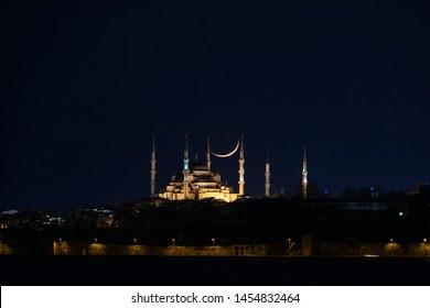 New moon over historical Eminonu peninsula at twilight, Istanbul - Turkey , Blue Mosque (Sultanahmet)