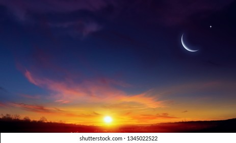 New moon. Prayer time. Generous Ramadan. Mubarak background. A decline or rising with clouds.