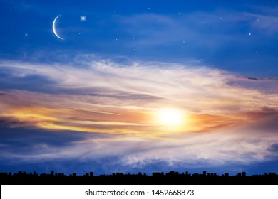 New moon .  Religion background . The sky at night with stars. Ramadan background . Prayer time . rural area