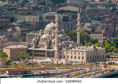 New Mosque in Istanbul Turkey. View from the top of the Galata Tower.