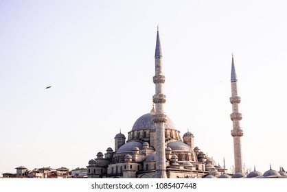 The New Mosque is an Ottoman imperial mosque located in the Eminönü quarter of Istanbul, Turkey. It is situated on the Golden Horn, at the southern end of the Galata Bridge. Image with copy space.