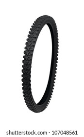 New motorcycle tyre isolated on white background