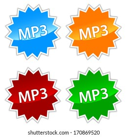 New mp3 icons set on a white background