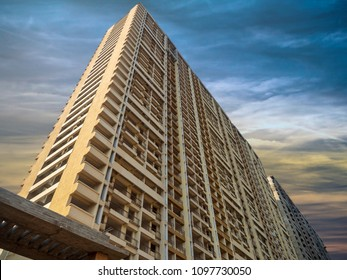 New Mumbai Maharashtra, India : January 10, 2018 - High rise Building in Navi Mumbai