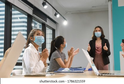 New normal of business office had meeting with face mask for preventive.
