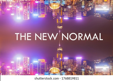 The New Normal word with famous city background