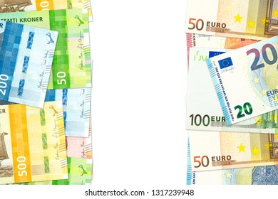 new norwegian krone and euro banknotes indicating bilateral economic relations with copy space
