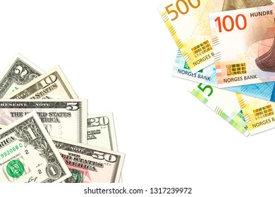 new norwegian krone and us-american dollar banknotes indicating bilateral economic relations with copy space