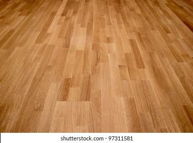New oak floor of brown color