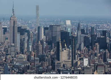 "NEW YORK€"" - OCTOBER 5 2016: The New York City in the day taken from One World Trade Center Building, Manhattan, October 5 2016 showing Empire State Building, Manhattan."