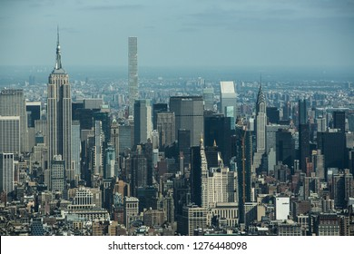 """NEW YORK€"""" - OCTOBER 5 2016: The New York City in the day taken from One World Trade Center Building, Manhattan, October 5 2016 showing Empire State Building, Manhattan."""