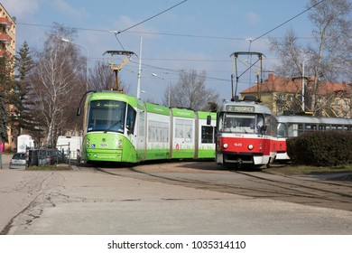A new and old tram on the streets of Brno, Czech Republic - 20th February 2018