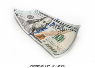 New one hundred dollars bills isolated on white
