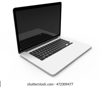 New Opened NoteBook. Portable Computer. Laptop. On the white background.