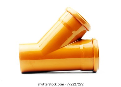 New orange drain pvc pipe isolated on white