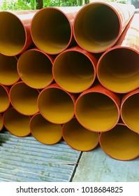 New orange underground, longitudinal drainage pipes