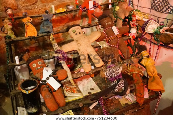 NEW ORLEANS - 18 AUGUST 2017.Voodoo artefacts, a museum exhibit of theNew Orleans Historic Voodoo Museum