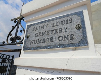 NEW ORLEANS, LOUISIANA—JANUARY 2017: Sign outside the Saint Louis Cemetery #1, the oldest cemetery and one of the top attractions in New Orleans.