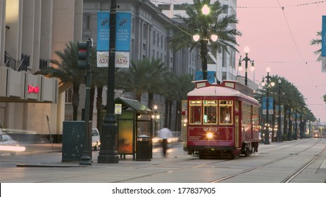 NEW ORLEANS - AUGUST 7, 2010: A trolley plies the rails near the French Quarter.