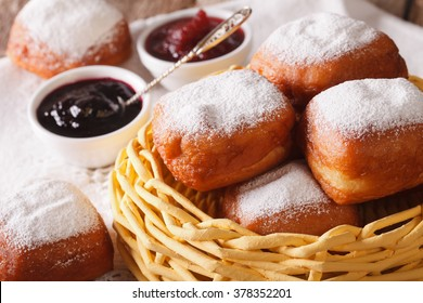 New Orleans beignets donuts in a basket on a table macro. horizontal