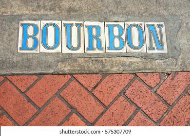New Orleans: Bourbon Street Logo on pavement
