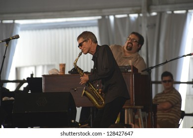 NEW ORLEANS - CIRCA APRIL 2012: David Sanborn & Joey DeFrancesco Jam at the 2012 New Orleans Jazz & Heritage Festival circa April 2012 in New Orleans