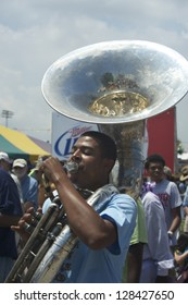 NEW ORLEANS - CIRCA APRIL 2012: Tuba Player, New Orleans Brass Band, Jazz & Heritage Festival 2012 circa April 2012 in New Orleans