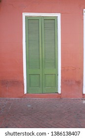 New Orleans city doorway, colorful street scene, urban, worn