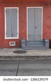 New Orleans city scene, colorful doorways, entryways, urban