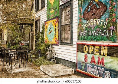 NEW ORLEANS- Dec.22,2016: Elizabeth's Restaurant in historic Bywater neighborhood decorated on the outside with colorful funny signs advertising local specialties. Outdoor seating. Retro vintage color