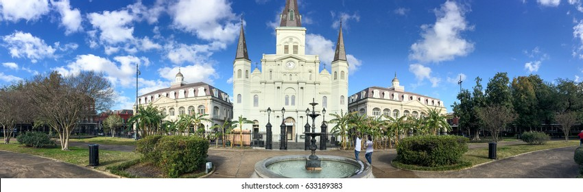 NEW ORLEANS - FEBRUARY 2016: Panoramic view of Jackson Square. New Orleans attracts 15 million people annually.