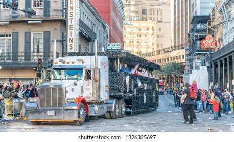 NEW ORLEANS - FEBRUARY 9, 2016: Parade truck along the street on Mardi Gras. This is the major city event.