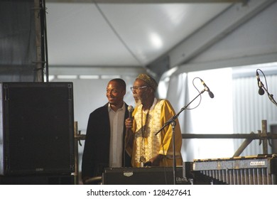 NEW ORLEANS - Harold Battiste New Orleans Jazz Legend & Pianist Jesse McBride at the New Orleans Jazz & Heritage Festival circa April 2012 in New Orleans