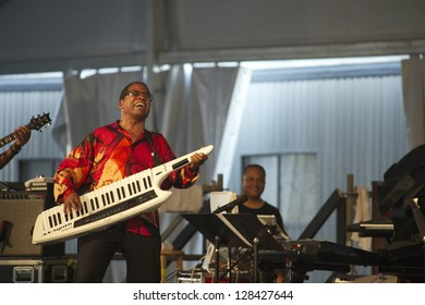 NEW ORLEANS - Herbie Hancock, Jazz legend,  jams on his keyboard guitar at the 2012 New Orleans Jazz & Heritage Festival circa April 2012 in New Orleans