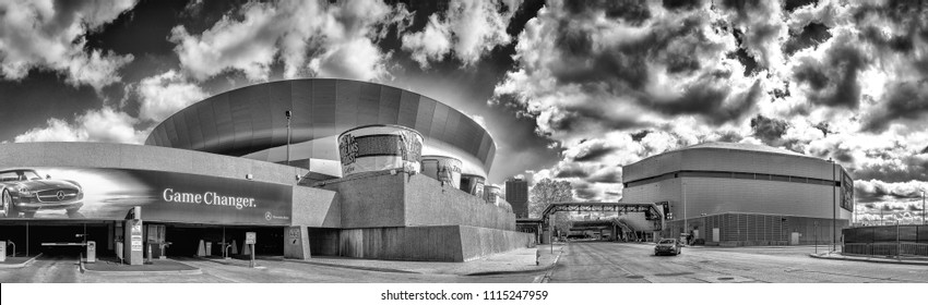 NEW ORLEANS - JANUARY 27, 2016: Black and white view of Mercedes Benz Superdome. Superdome is home to NFL's New Orleans Saints American football.