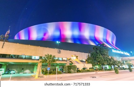 NEW ORLEANS - JANUARY 27, 2016: Mercedes Benz Superdome. Superdome is home to NFL's New Orleans Saints American football.