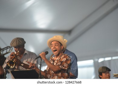 "NEW ORLEANS - John Boutte, New Orleans Vocalist and ""Treme"" Star, sings at the New Orleans Jazz & Heritage Festival, April 2012 in New Orleans"