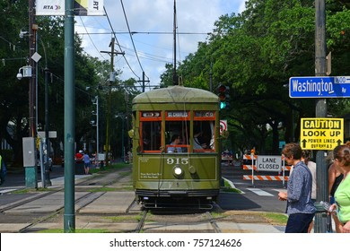 NEW ORLEANS - JUN. 2, 2017: RTA antique Streetcar St. Charles Line Route 12 on St. Charles Avenue in downtown New Orleans, Louisiana, USA. This line is registered as a US National Historic Places.