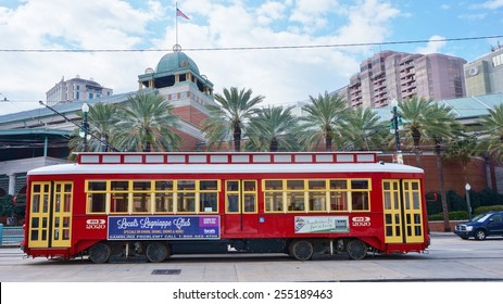 NEW ORLEANS, LA 20 FEBRUARY 2015-- The St. Charles Avenue line streetcar in New Orleans, Louisiana, is the oldest continuously operating street railway system in the world.