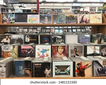 New Orleans, LA - August 16, 2019: CDs for sale at Peaches records