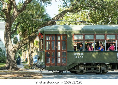 NEW ORLEANS, LA - DECEMBER 15, 2019: Streetcar on St. Charles Avenue in New Orleans