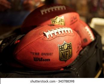 New Orleans, LA - February 2, 2013: Bag of NFL Footballs at Fan Experience During Super Bowl XLVII