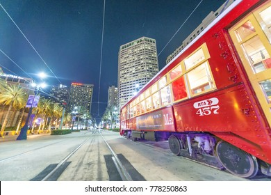 NEW ORLEANS, LA - JANUARY 2016: New Orleans Streetcar at night. Newly revamped after Hurricane Katrina in 2005, the New Orleans Streetcar line began electric operation in 1893.