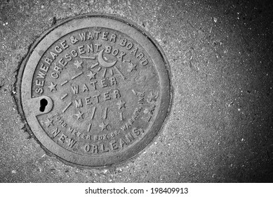 NEW ORLEANS, LA - JANUARY 5, 2012: New Orleans Water meter cover.